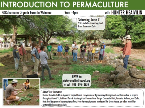 Intro to Permaculture hands-on workshop includes brown bag lunch from Kahumana Cafe
